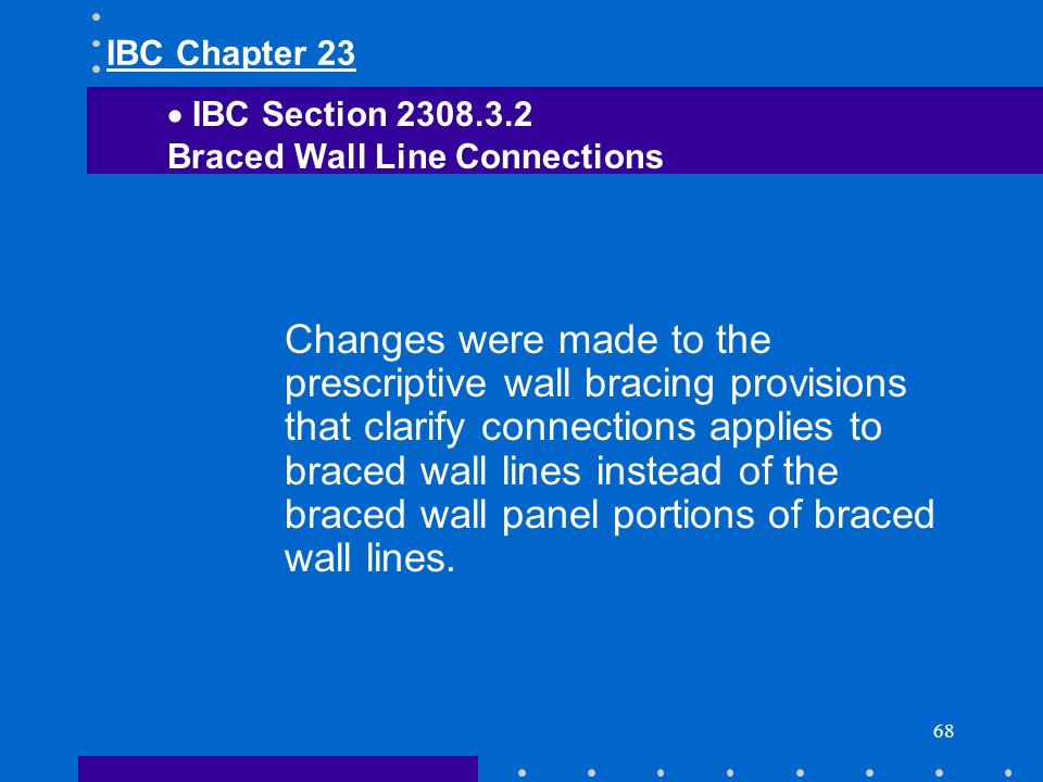 IBC Chapter 23 IBC Section 2308.3.2. Braced Wall Line Connections.