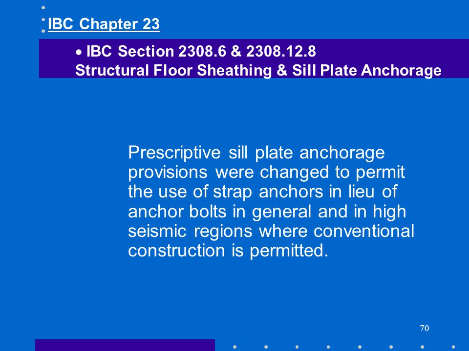 IBC Chapter 23 IBC Section 2308.6 & 2308.12.8. Structural Floor Sheathing & Sill Plate Anchorage.