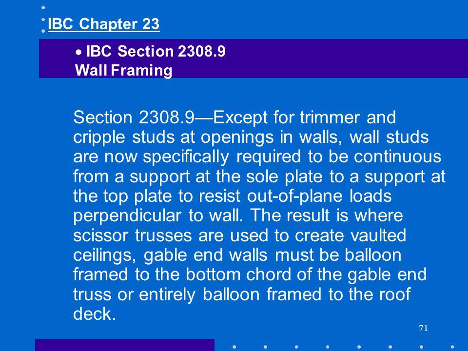 IBC Chapter 23 IBC Section 2308.9. Wall Framing.