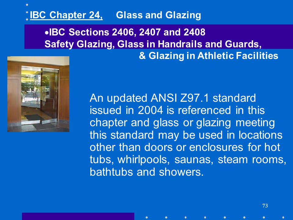 IBC Chapter 24, Glass and Glazing