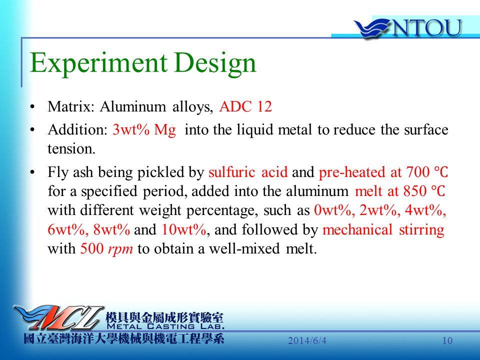 Experiment Design Matrix: Aluminum alloys, ADC 12
