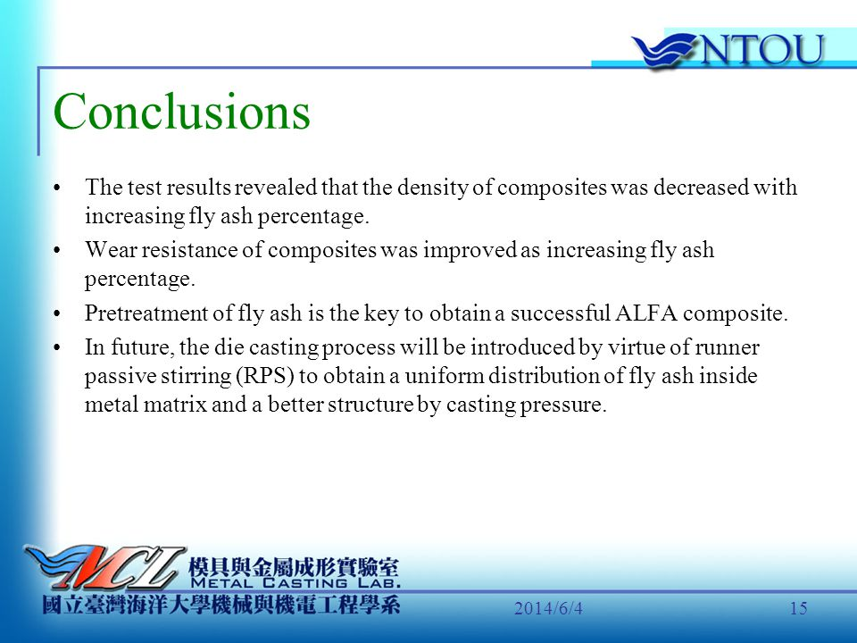 Conclusions The test results revealed that the density of composites was decreased with increasing fly ash percentage.