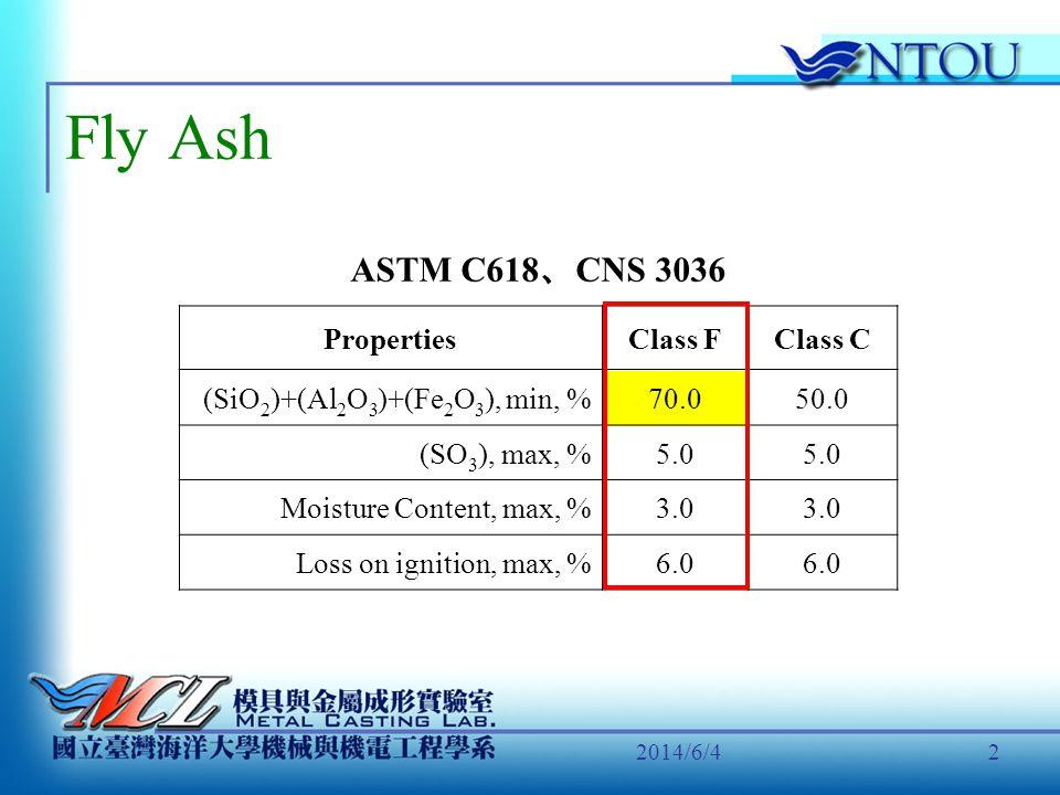 Fly Ash ASTM C618、CNS 3036 Properties Class F Class C