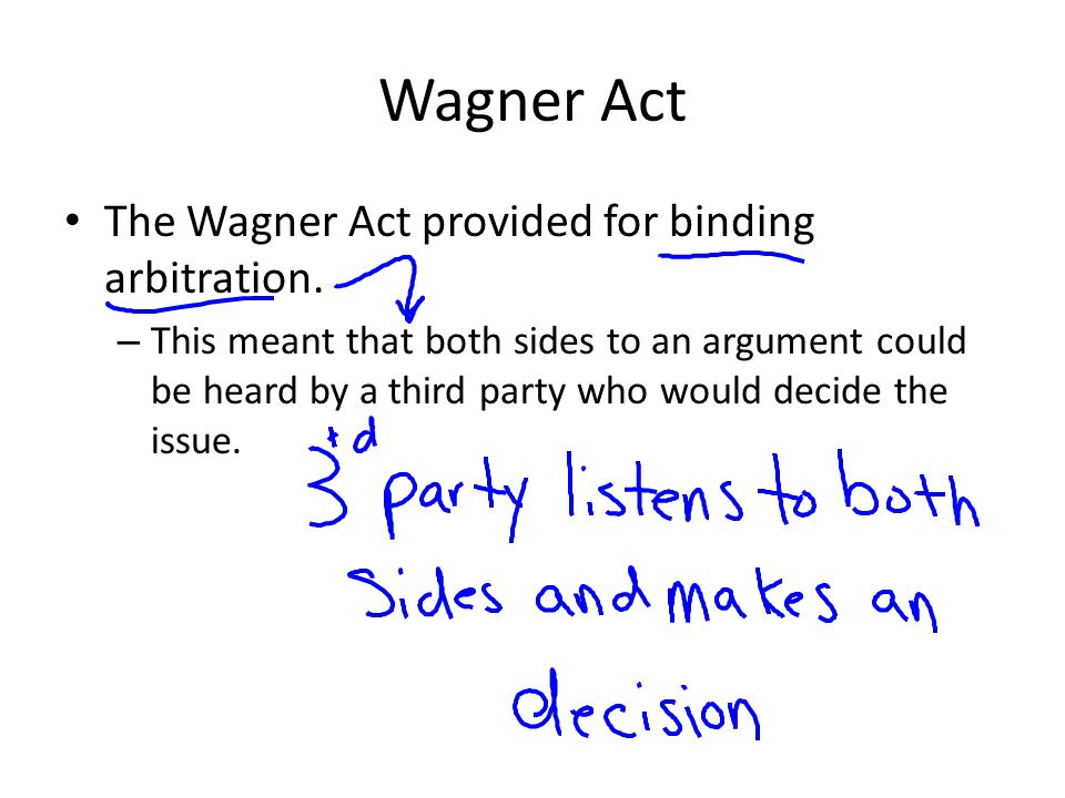 Wagner Act The Wagner Act provided for binding arbitration.