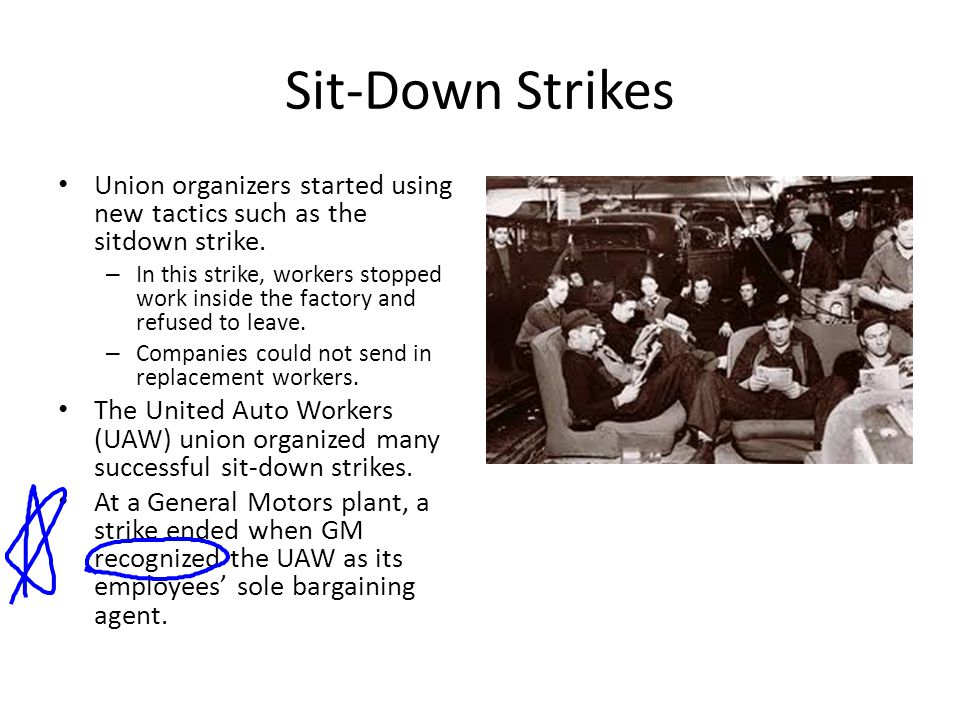 Sit-Down Strikes Union organizers started using new tactics such as the sitdown strike.