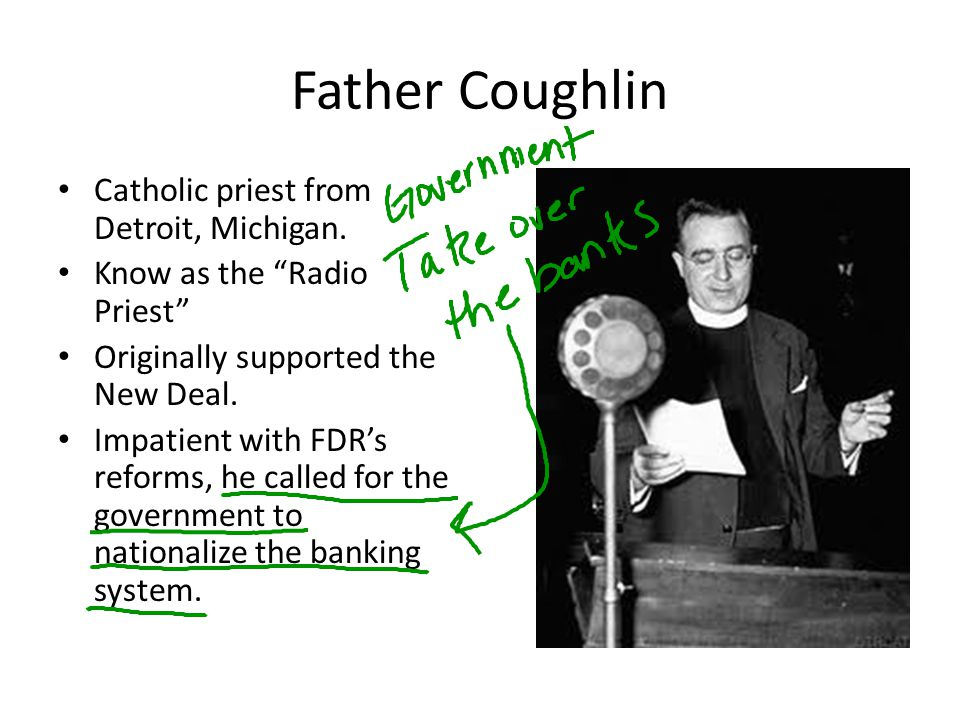 Father Coughlin Catholic priest from Detroit, Michigan.