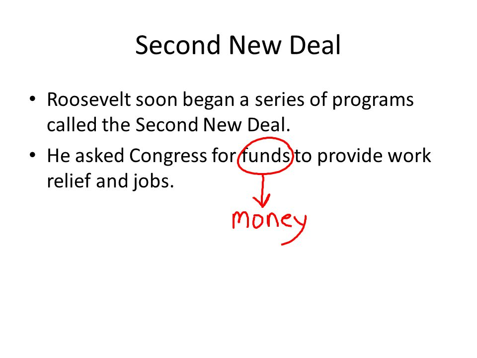 Second New Deal Roosevelt soon began a series of programs called the Second New Deal.