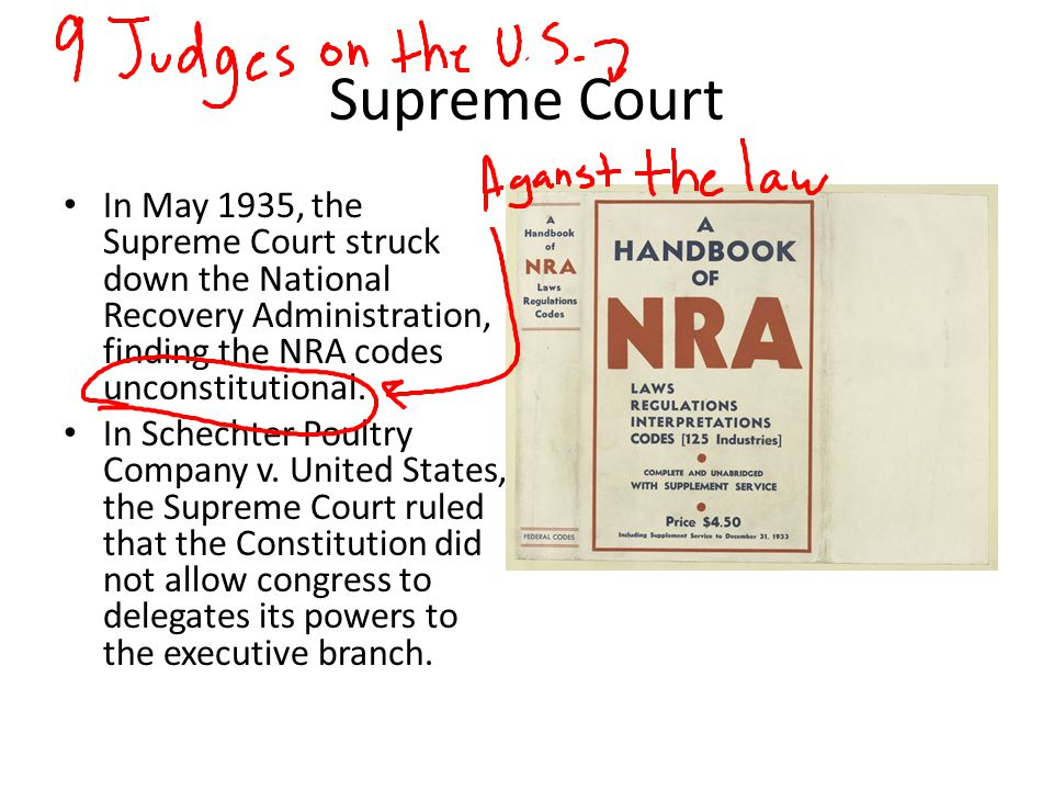 Supreme Court In May 1935, the Supreme Court struck down the National Recovery Administration, finding the NRA codes unconstitutional.