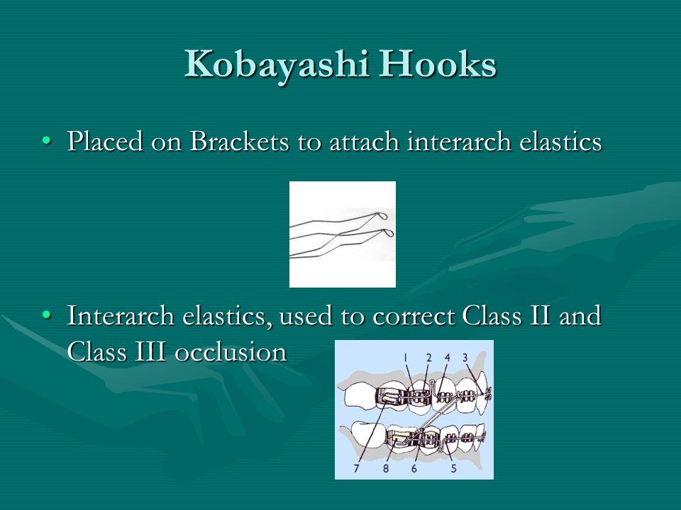 Kobayashi Hooks Placed on Brackets to attach interarch elastics