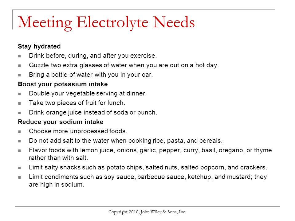Meeting Electrolyte Needs