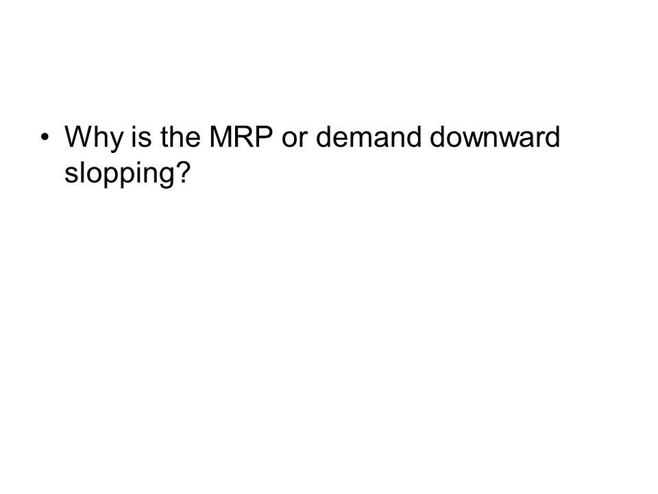 Why is the MRP or demand downward slopping