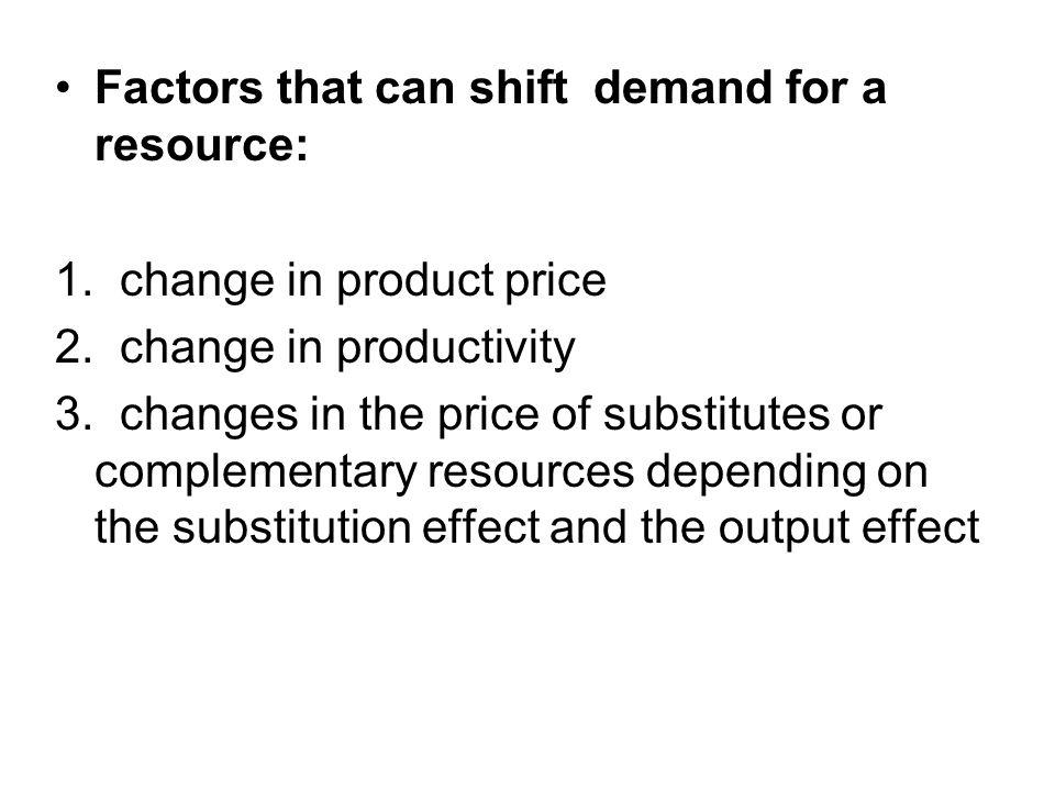 Factors that can shift demand for a resource: