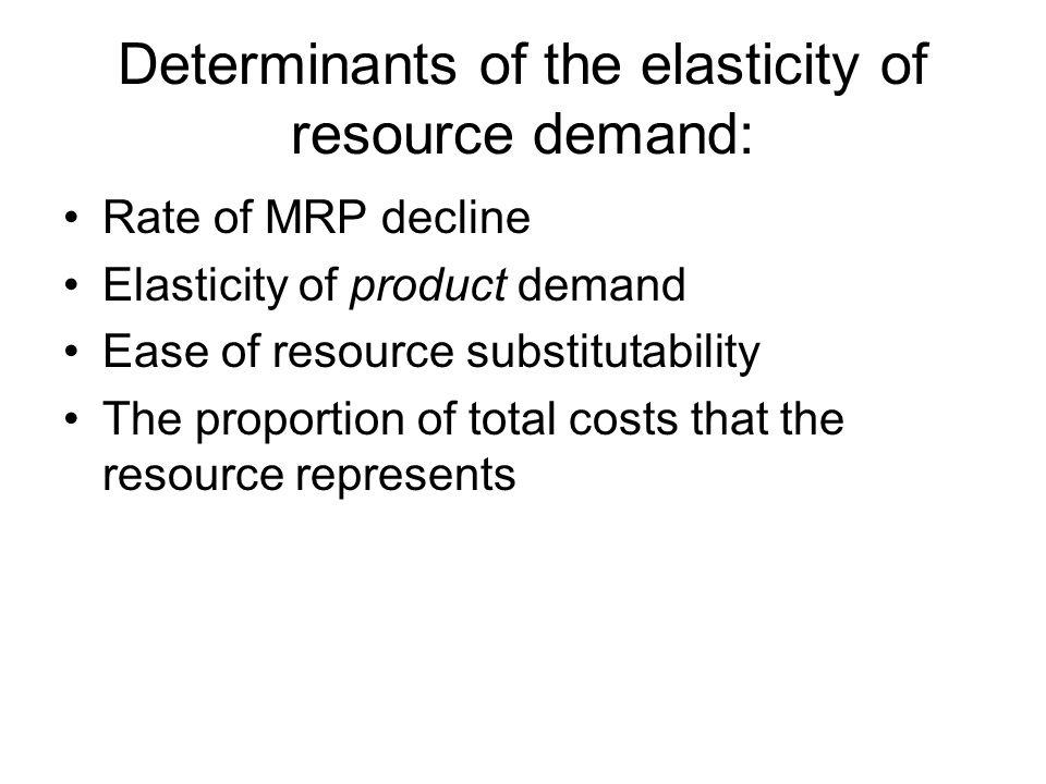 Determinants of the elasticity of resource demand: