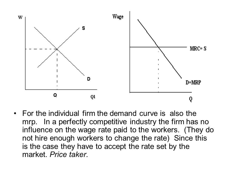 For the individual firm the demand curve is also the mrp
