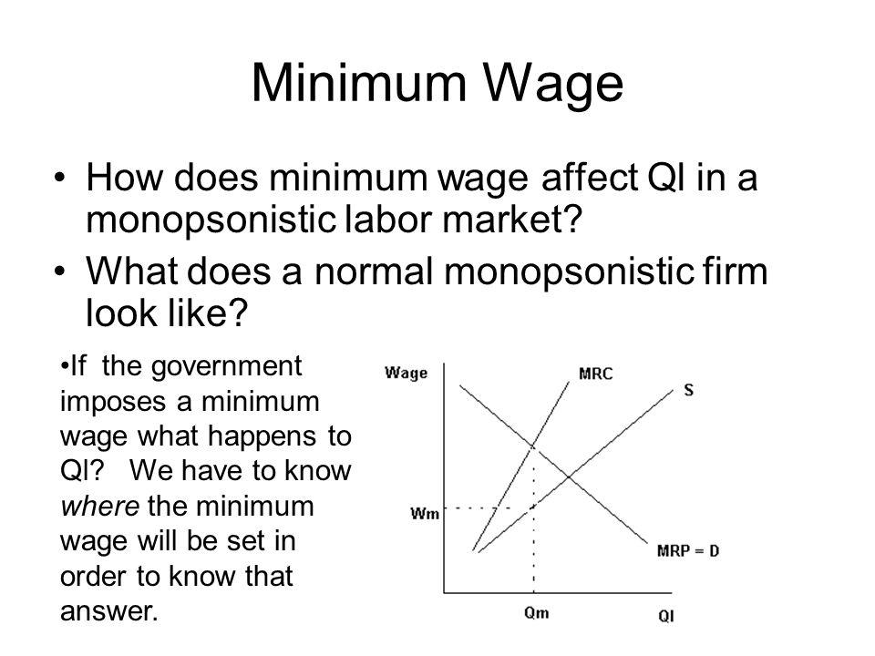 Minimum Wage How does minimum wage affect Ql in a monopsonistic labor market What does a normal monopsonistic firm look like