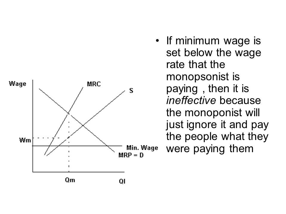 If minimum wage is set below the wage rate that the monopsonist is paying , then it is ineffective because the monoponist will just ignore it and pay the people what they were paying them