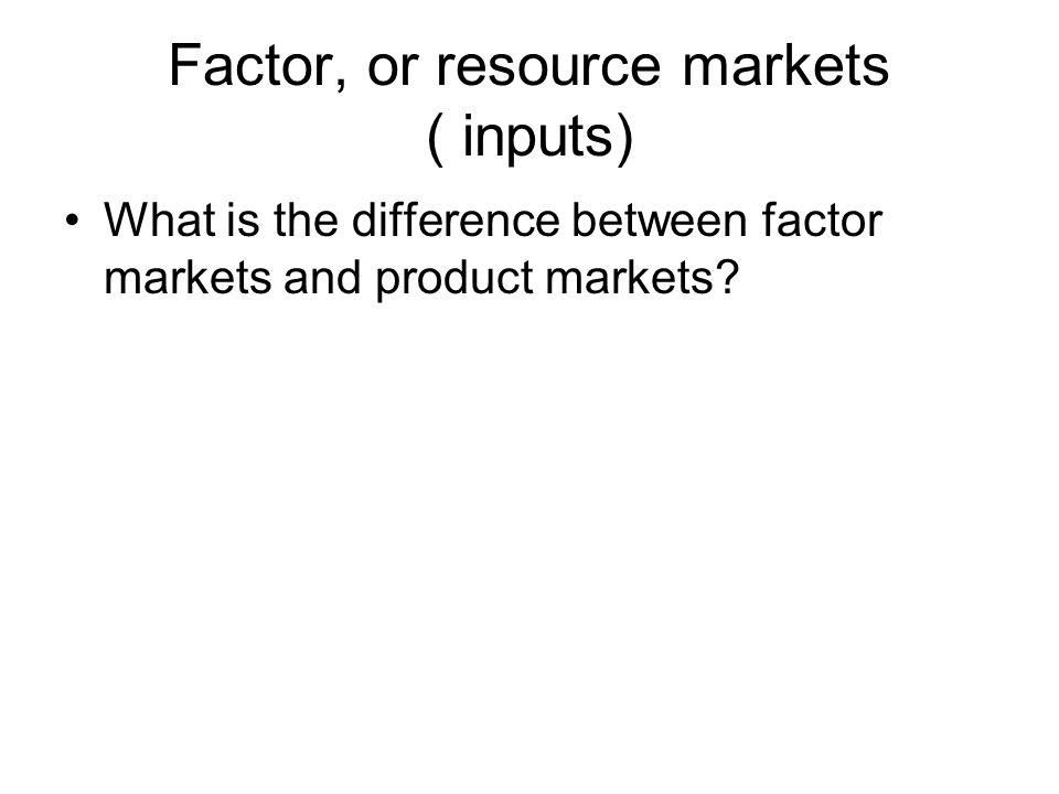 Factor, or resource markets ( inputs)