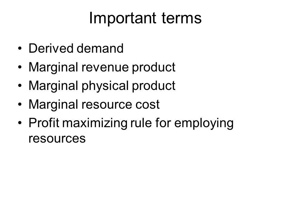 Important terms Derived demand Marginal revenue product