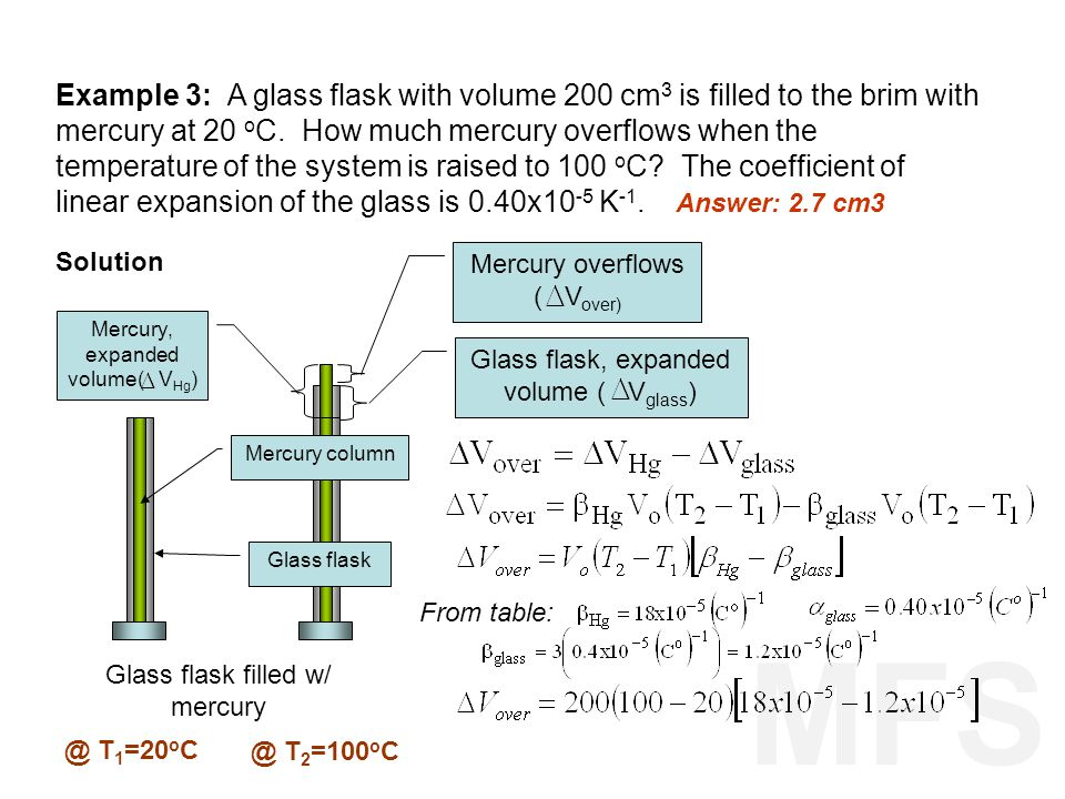 Example 3: A glass flask with volume 200 cm3 is filled to the brim with mercury at 20 oC. How much mercury overflows when the temperature of the system is raised to 100 oC The coefficient of linear expansion of the glass is 0.40x10-5 K-1.