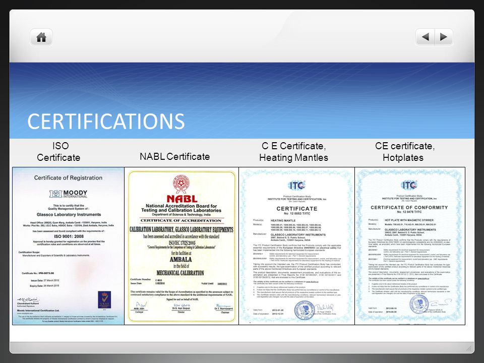 CERTIFICATIONS ISO Certificate C E Certificate, Heating Mantles