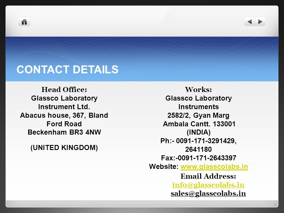 CONTACT DETAILS Head Office: Glassco Laboratory Instrument Ltd.