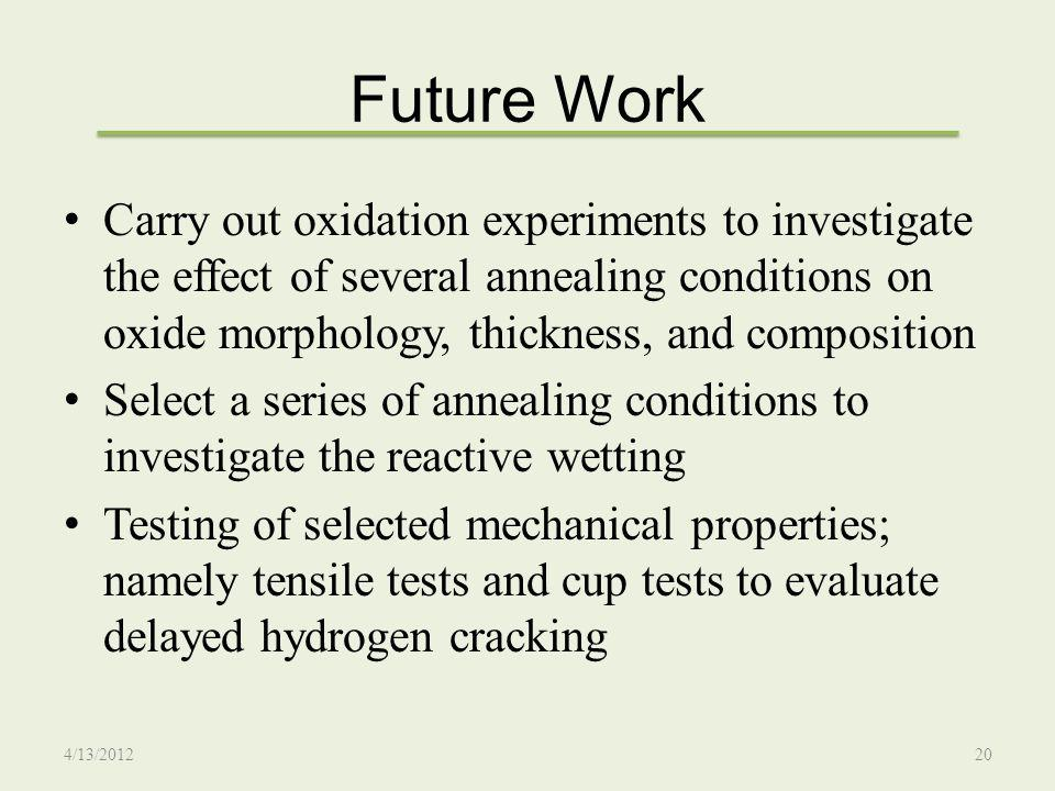Future Work Carry out oxidation experiments to investigate the effect of several annealing conditions on oxide morphology, thickness, and composition.