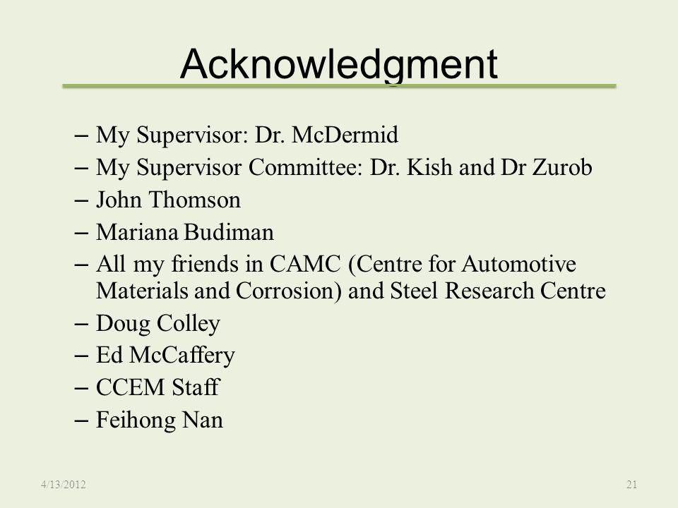 Acknowledgment My Supervisor: Dr. McDermid