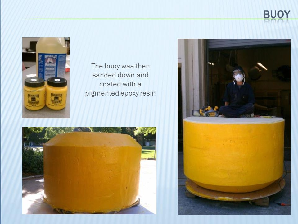The buoy was then sanded down and coated with a pigmented epoxy resin