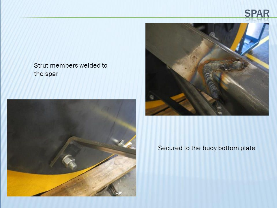 SPAR Strut members welded to the spar Secured to the buoy bottom plate