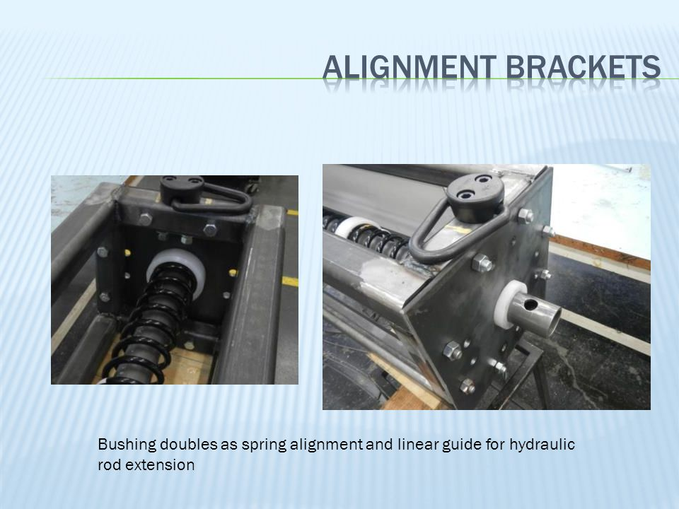 Alignment brackets Bushing doubles as spring alignment and linear guide for hydraulic rod extension