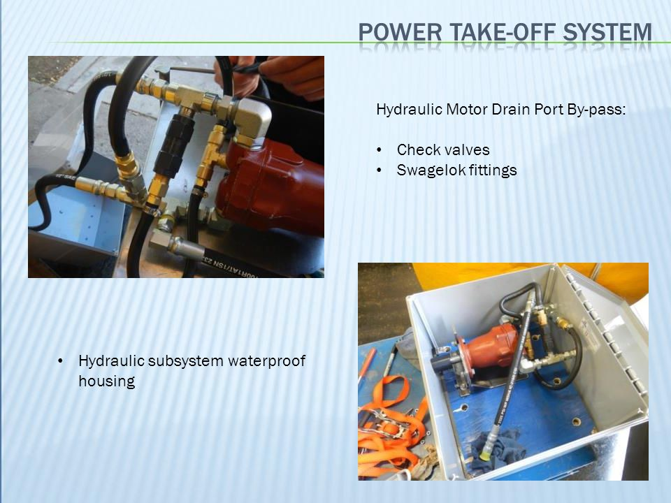 Power take-off system Hydraulic Motor Drain Port By-pass: Check valves