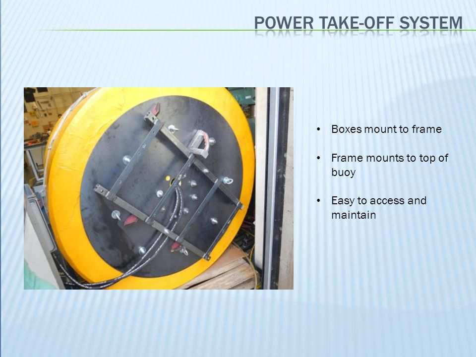 Power take-off system Boxes mount to frame Frame mounts to top of buoy