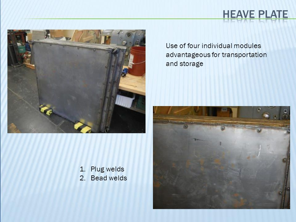 Heave plate Use of four individual modules advantageous for transportation and storage. Plug welds.