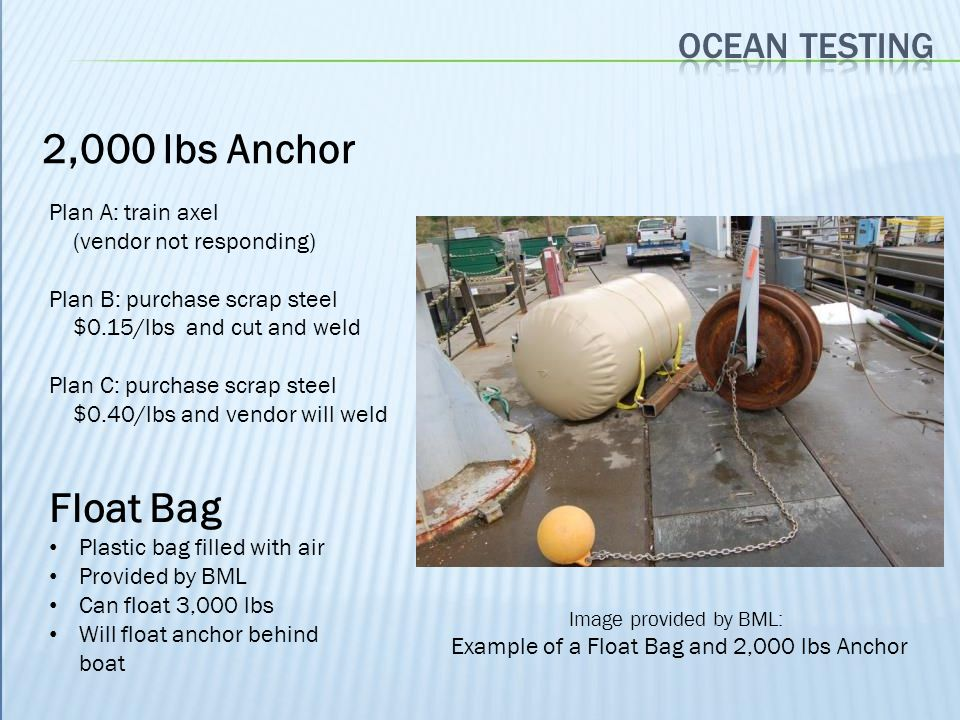 Example of a Float Bag and 2,000 lbs Anchor
