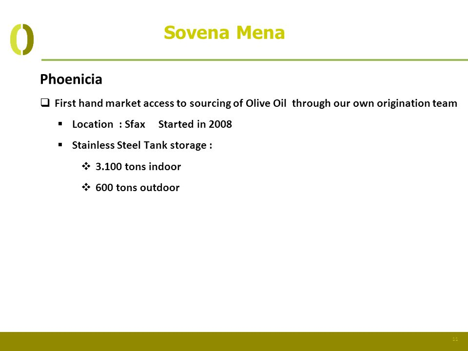 Sovena Mena Phoenicia. First hand market access to sourcing of Olive Oil through our own origination team.