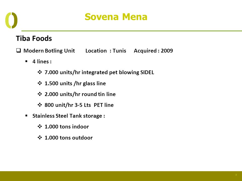 Sovena Mena Tiba Foods. Modern Botling Unit Location : Tunis Acquired : 2009. 4 lines : 7.000 units/hr integrated pet blowing SIDEL.