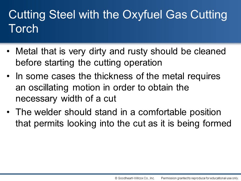 Cutting Steel with the Oxyfuel Gas Cutting Torch