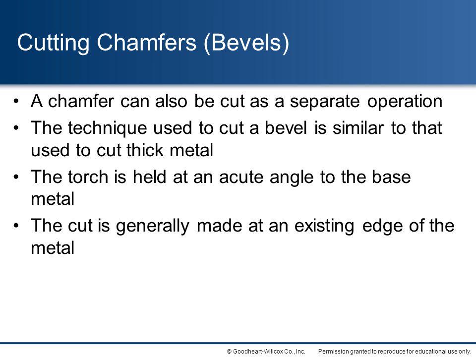 Cutting Chamfers (Bevels)
