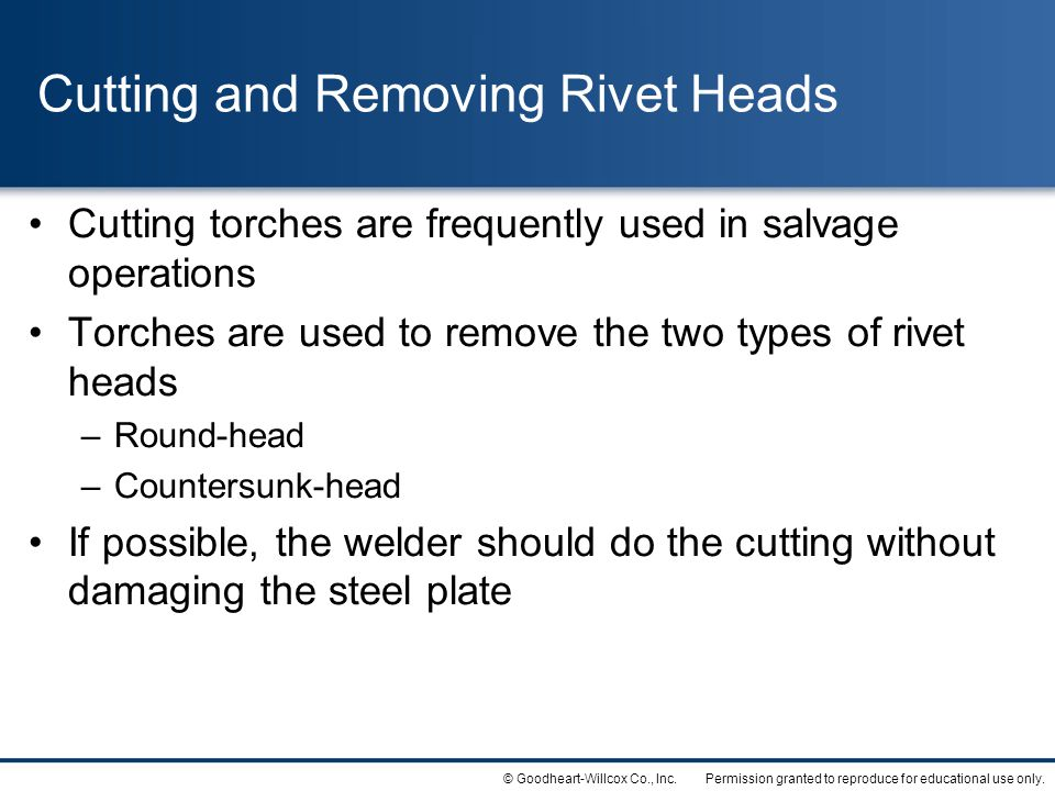 Cutting and Removing Rivet Heads