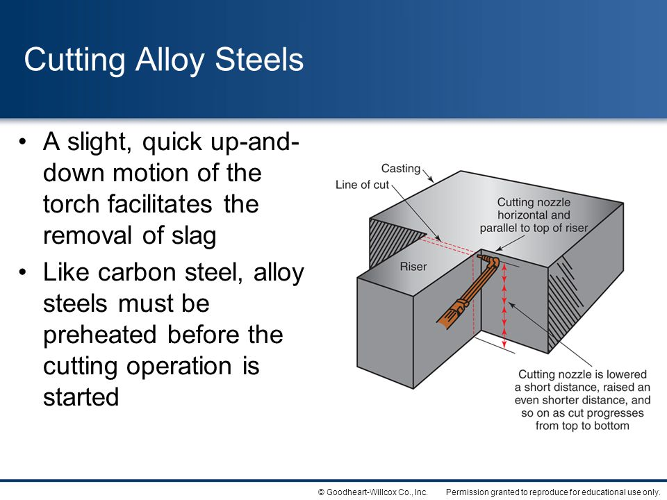 Cutting Alloy Steels A slight, quick up-and-down motion of the torch facilitates the removal of slag.