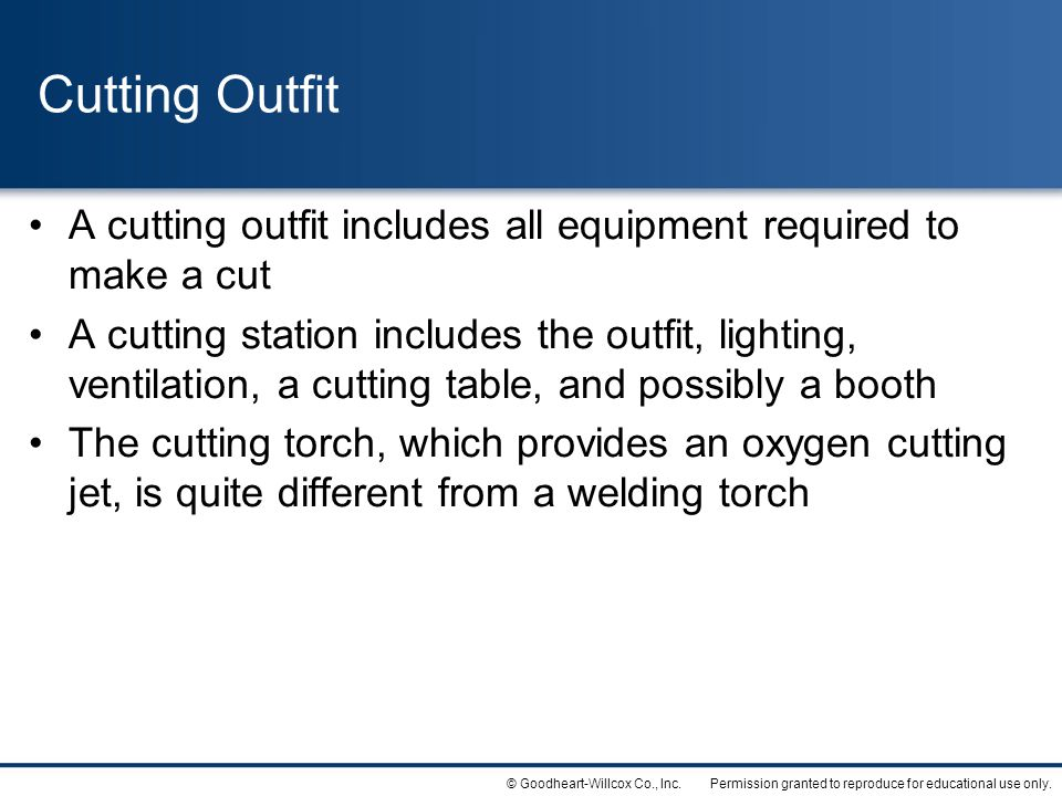 Cutting Outfit A cutting outfit includes all equipment required to make a cut.