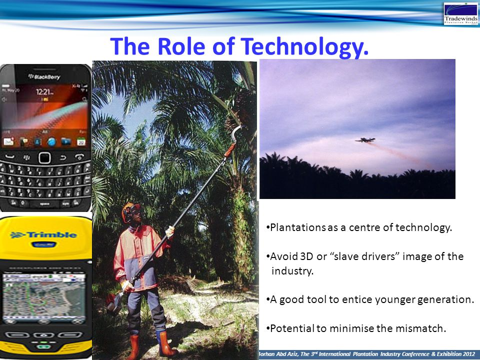 The Role of Technology. Plantations as a centre of technology.
