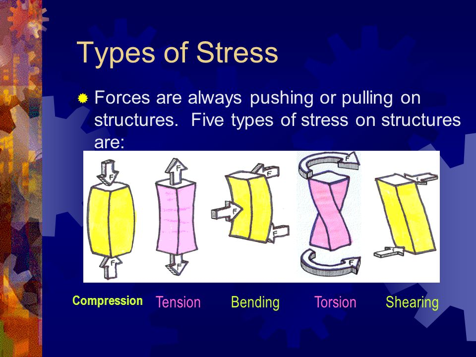 Types of Stress Forces are always pushing or pulling on structures. Five types of stress on structures are: