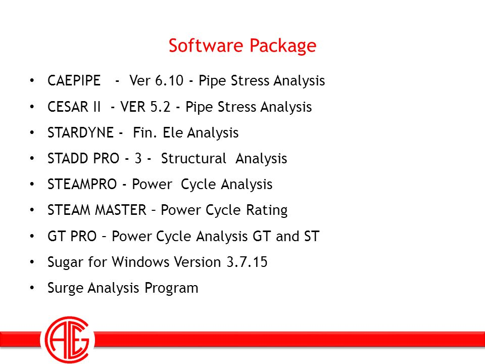 Software Package CAEPIPE - Ver 6.10 - Pipe Stress Analysis