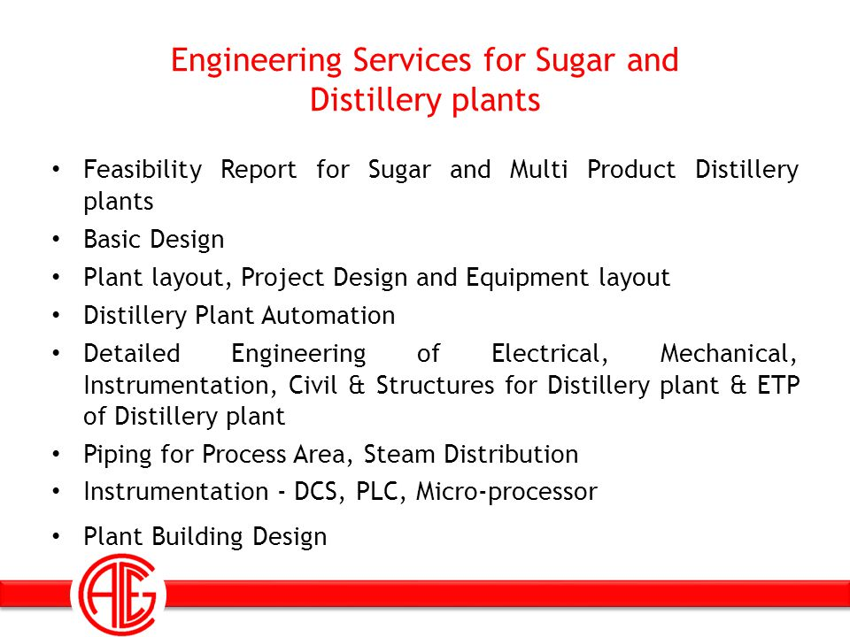 Engineering Services for Sugar and Distillery plants