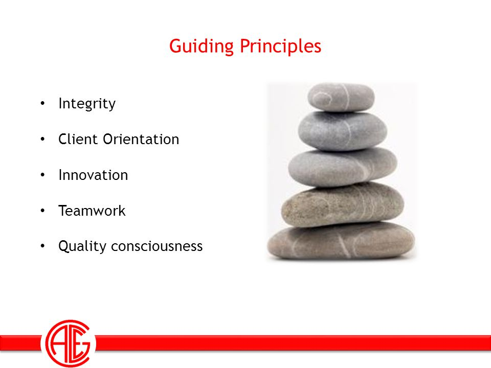 Guiding Principles Integrity Client Orientation Innovation Teamwork