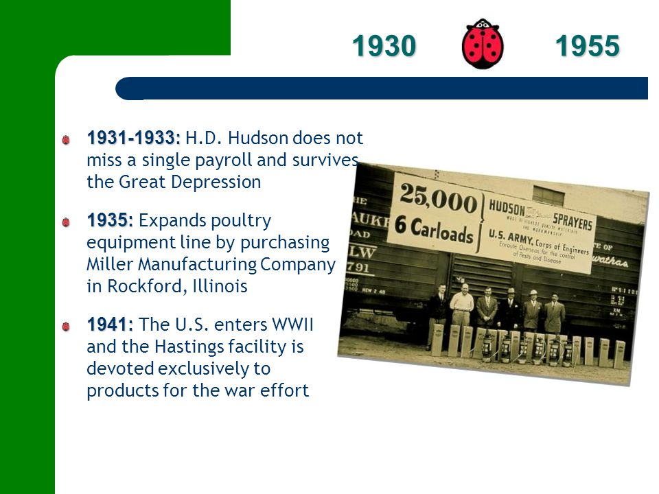 1930 1955 1931-1933: H.D. Hudson does not miss a single payroll and survives the Great Depression.