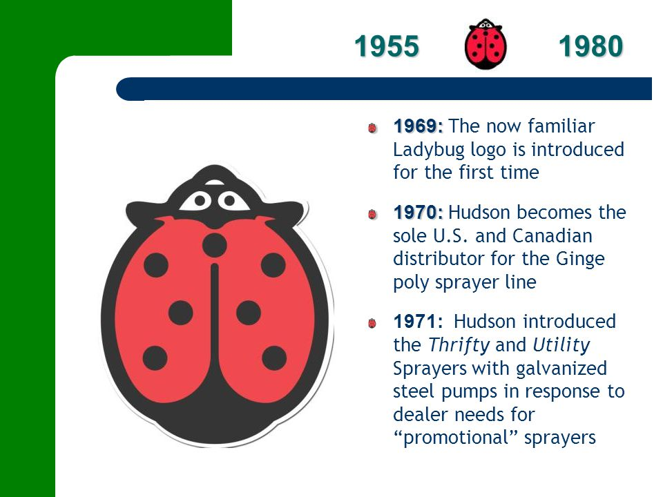 1955 1980 1969: The now familiar Ladybug logo is introduced for the first time.