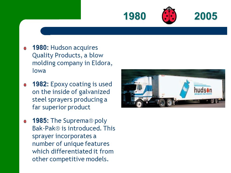 1980 2005 1980: Hudson acquires Quality Products, a blow molding company in Eldora, Iowa.