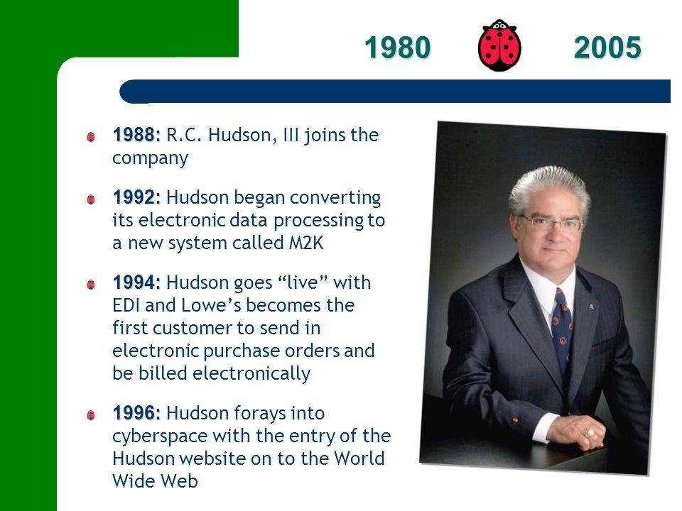 1980 2005 1988: R.C. Hudson, III joins the company